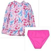 Flap Happy Pink Lobsters UPF 50 Rash Guard w/Swim Bottom