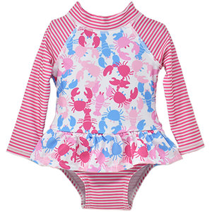 Flap Happy Pink Lobsters UPF 50 Ruffle Rash Guard Swimsuit