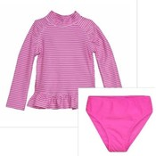 Flap Happy Preppy Pink Stripe UPF 50 Rash Guard w/Swim Bottom