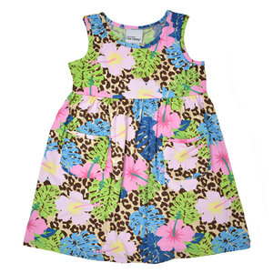 Flap Happy Cheetah Blooms UPF 50 Sleeveless Tee Dress w/Pockets