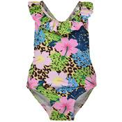 Flap Happy Cheetah Blooms UPF 50 Crossback Swimsuit