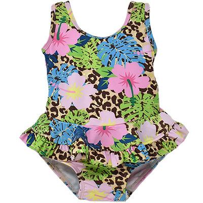 Flap Happy Cheetah Blooms UPF 50 Hip Ruffle Swimsuit
