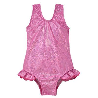 Flap Happy Pink Sparkle UPF 50 Hip Ruffle Swimsuit
