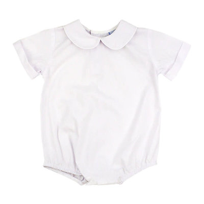 Bailey Boys White Button Back Boys S/S Piped Onesie