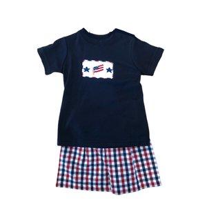 Remember Nguyen Blue Plaid American Flag Boy Short Set