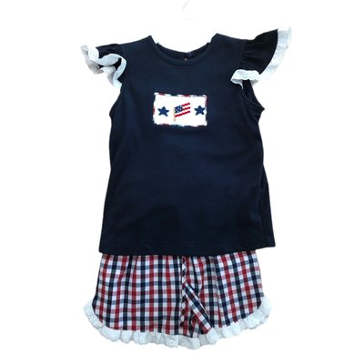 Remember Nguyen Blue Plaid Amercian Flag Girl Short Set