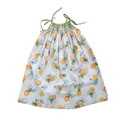 Lulu Bebe LLC Pineapple Spaghetti Strap Smocked Dress
