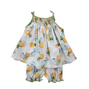 Lulu Bebe LLC Pineapple Spaghetti Strap Smocked Bloomer Set