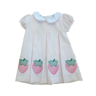 Lulu Bebe LLC Pink Strawberry Embroidered Dress