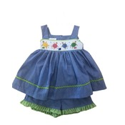 Lulu Bebe LLC Turtle Smocked Strap Bloomer Set