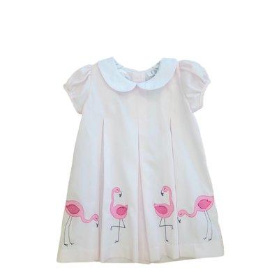 Lulu Bebe LLC Pink Flamingo Embroidered Dress
