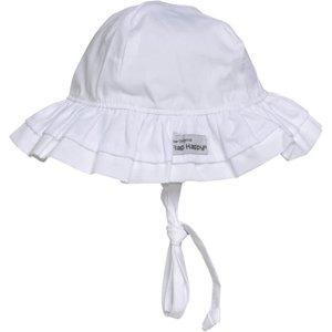 Flap Happy White Double Ruffle Sun Hat