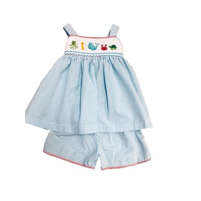Lulu Bebe LLC Sea Smocked Girl Shortset