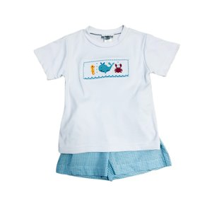Lulu Bebe LLC Sea Smocked Boy Short Set