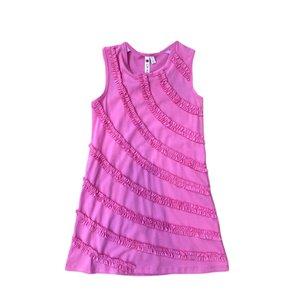 Globaltex Pink Racer Back Shift Dress with Ruffle Trim
