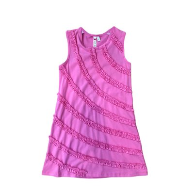 Globaltex Pink Racer Back Shift Dress with Ruffle Trim