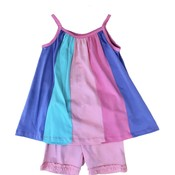Globaltex Multi Rainbow Panel Strap Tunic with Ruched Hem Bike Short Set