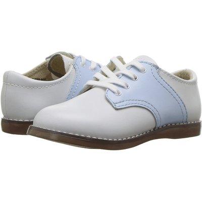 Footmates Cheer White/Lt Blue Saddle Oxfords