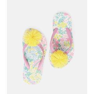 Joules White Floral Flip Flop