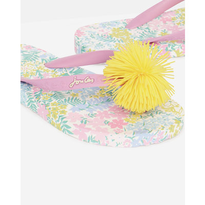 White Floral Flip Flop