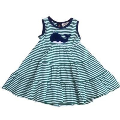 Luigi Kelly Green & White Stripe Sleeveless Whale Dress