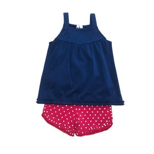 Globaltex Navy Strap Tunic with Ruffle Trim & Red Dot Ruffle Shorts Set