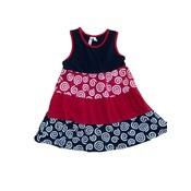 Globaltex Mix Up Navy Red Multi Tier Twirl Dress