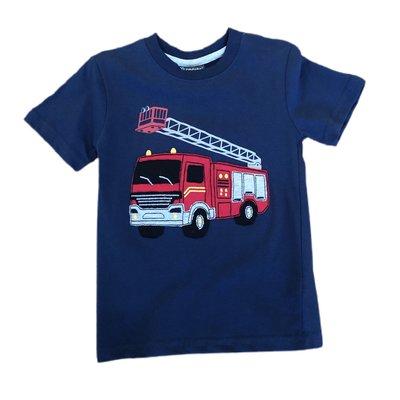 Globaltex Navy Fire Engine Applique Jersey T-shirt