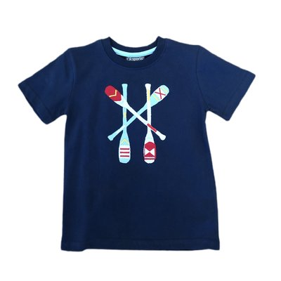 Globaltex Navy Kayak Paddle Applique T-shirt