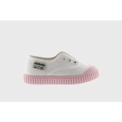 Victoria No Lace Sneaker White with Pink (Rosa) Bottom