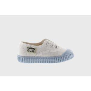Victoria No Lace Sneaker White with Blue (Azul) Bottom