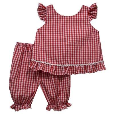 Vive La Fete Red Medium Check Ruffle Blous with Panty