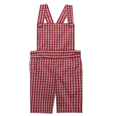 Vive La Fete Red Medium Check Boys Suspender Shortall