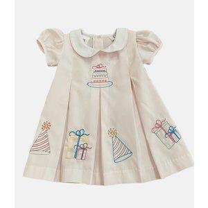 Lulu Bebe LLC Pink Birthday Embroidered Dress
