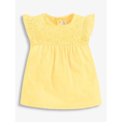 JoJo Maman Bebe Yellow Embroidered Top/Short Set