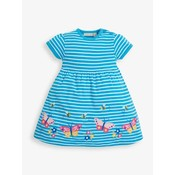 JoJo Maman Bebe Butterfly Applique Turquoise Dress
