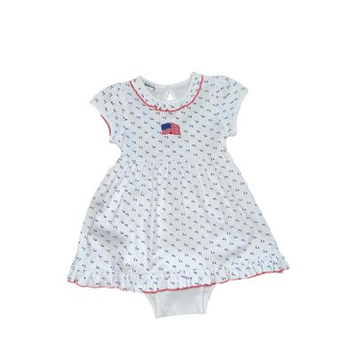 Magnolia Baby Vintage Red, White and Blue Embroidered Dress
