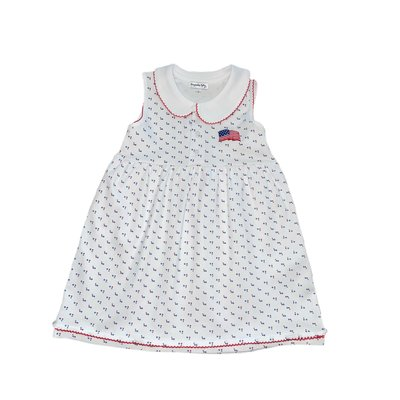 Magnolia Baby Vintage Red, White and Blue Embroidered Collared Dress