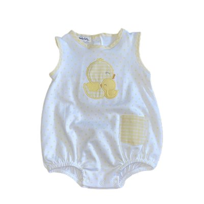 Magnolia Baby Gingham Duckie Applique Sleeveless Bubble