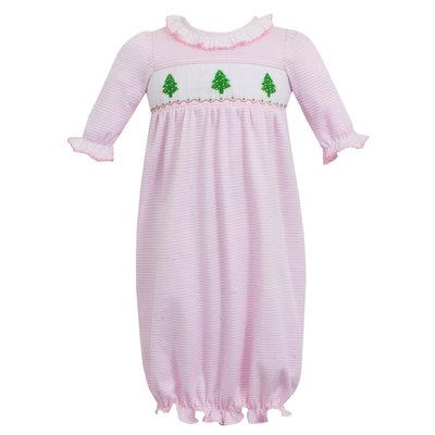 Petit Bebe Christmas Trees Pink Knit Stripe Sac-NB