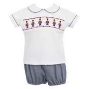 Petit Bebe Toy Soldier Navy Blue Knit Stripe Diaper Set