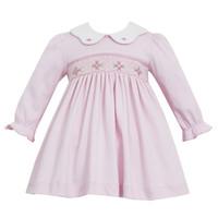 Petit Bebe Pink Knit Smocked Dress w/White Collar