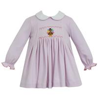 Petit Bebe Turkey Pink Knit Stripe Dress w/White Collar