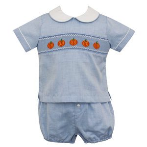 Anavini Pumpkin Smocked Boy Diaper Set