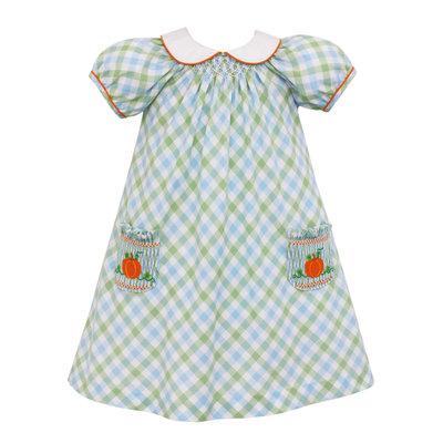 Anavini Pumpkin Smocked Plaid Dress