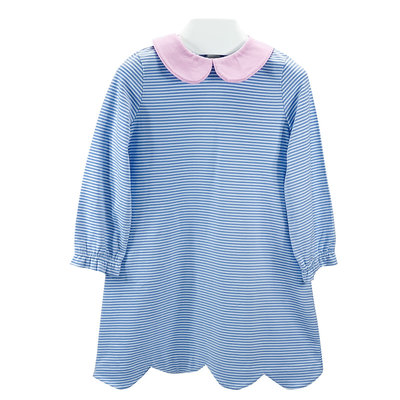 Ishtex Textile Products, Inc Blue Stripe Girls A-line Dress