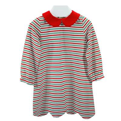Ishtex Textile Products, Inc Candy Cane Stripe Girls A-line Dress