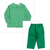 Bailey Boys Kelly Green Check Boy's Piped Shirt/Corduroy Pant Set