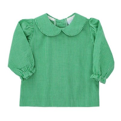 Bailey Boys Green Check Girl's Piped Blouse w/Romper