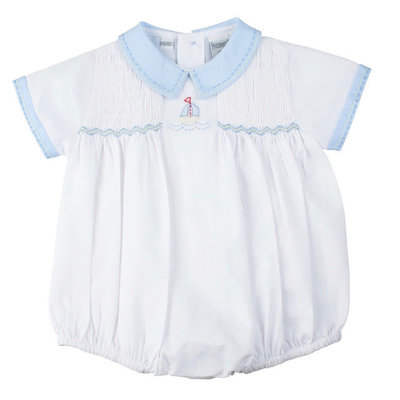 Feltman Brothers White and Blue Sailboat Smocked Creeper